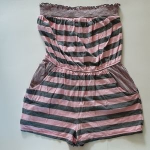 Pink & Gray Striped Romper